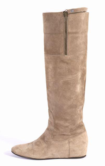 STUART WEITZMAN Gray Suede Knee-high Flat Boots