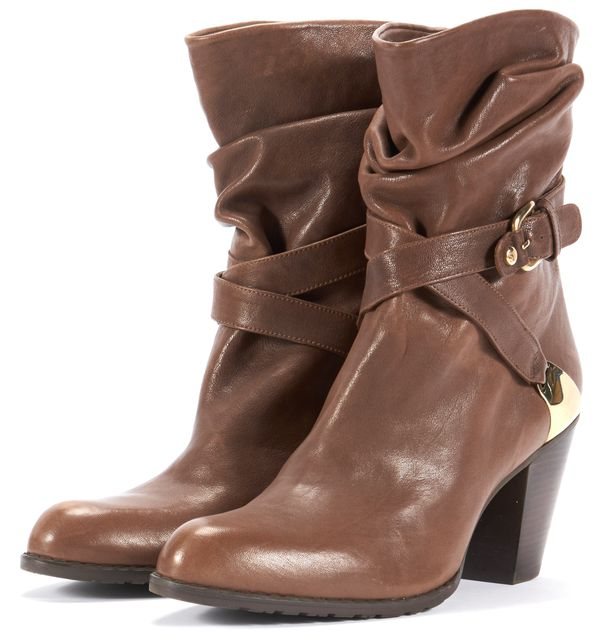 STUART WEITZMAN Brown Leather Gold-Tone Hardware Ankle Boots