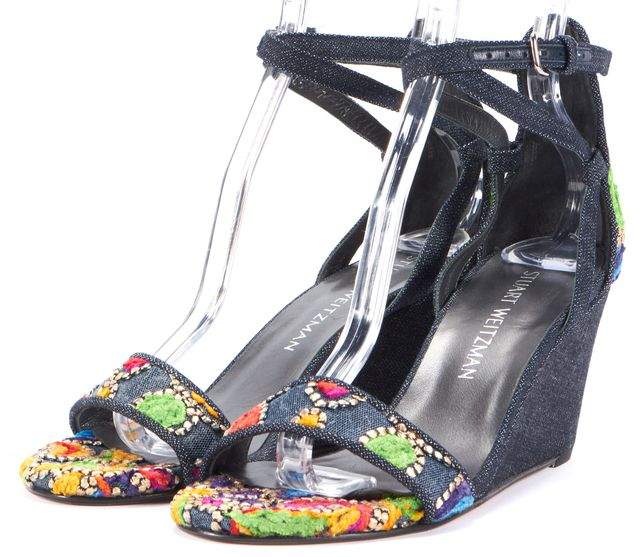 STUART WEITZMAN Multi-color Embroidered Abstract Platform Wedge Shoes