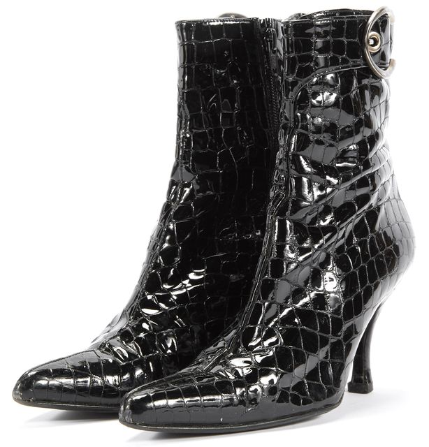 STUART WEITZMAN Black Crocodile Print Patent Leather Zippered Ankle Boots