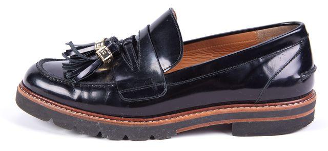 STUART WEITZMAN Black Leather Tassle Detailed Slip-on Loafers