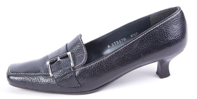 STUART WEITZMAN Black Silver Tone Buckle Front Leather Loafer Heels