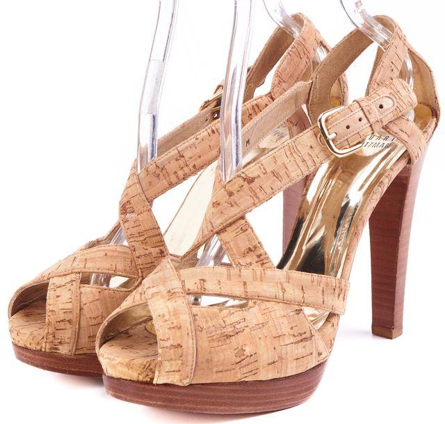 STUART WEITZMAN Tan Open Toe Strap Heels