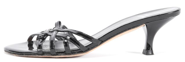 STUART WEITZMAN Black Patent Leather Kitten Heel Sandals