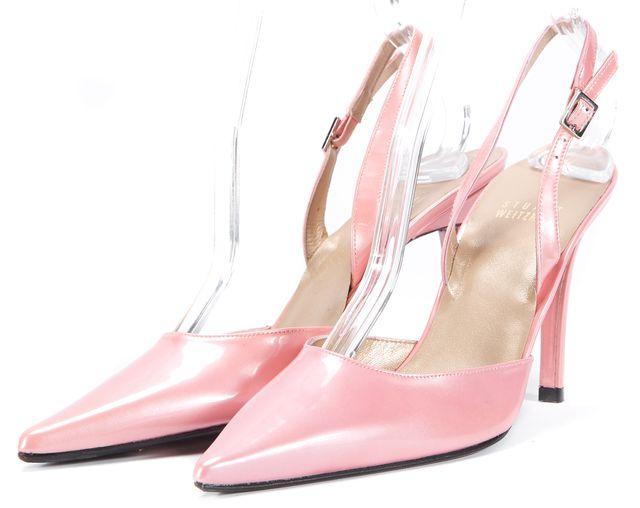 STUART WEITZMAN Blush Pink Patent Leather Slingback Heels