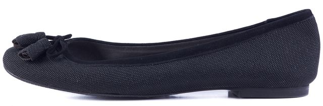 STUART WEITZMAN Black Embossed Tassel Front Detail Flats