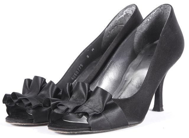 STUART WEITZMAN Black Satin Ruffle Open Toe Heels