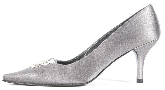 STUART WEITZMAN Silver Shimmer Jewel Embellished Pointed Toe Heels