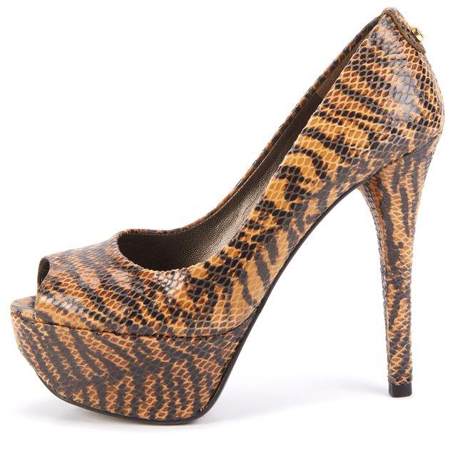 STUART WEITZMAN Brown Textured Animal Print Peep-Toe Heels