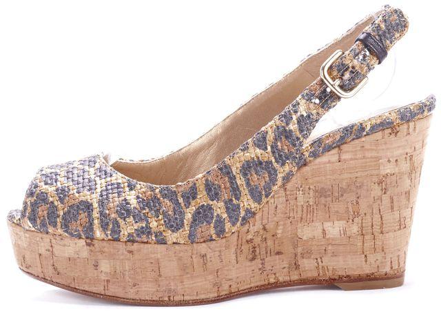 STUART WEITZMAN Brown Leopard Animal Print Leather Cork Wedges Heels
