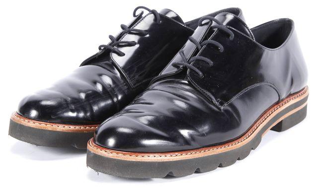 STUART WEITZMAN Black Patent Leather Lace Ups Oxfords
