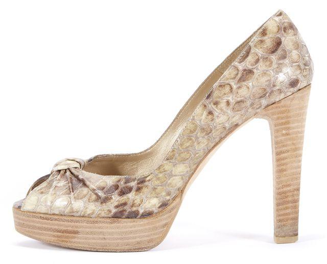 STUART WEITZMAN Brown Animal Print Snakeskin Leather Open Toe Heels