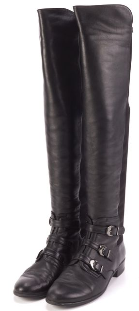 STUART WEITZMAN Black Leather Buckle Detailed Knee-high Boots