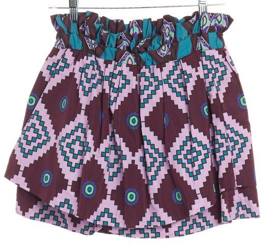 SUNO Purple Turquoise Multi Color Geometric Print Skirt