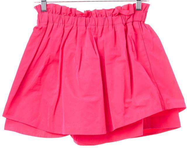 SUNO Neon Pink Pleated Layered Cinched Waist Mini Skirt