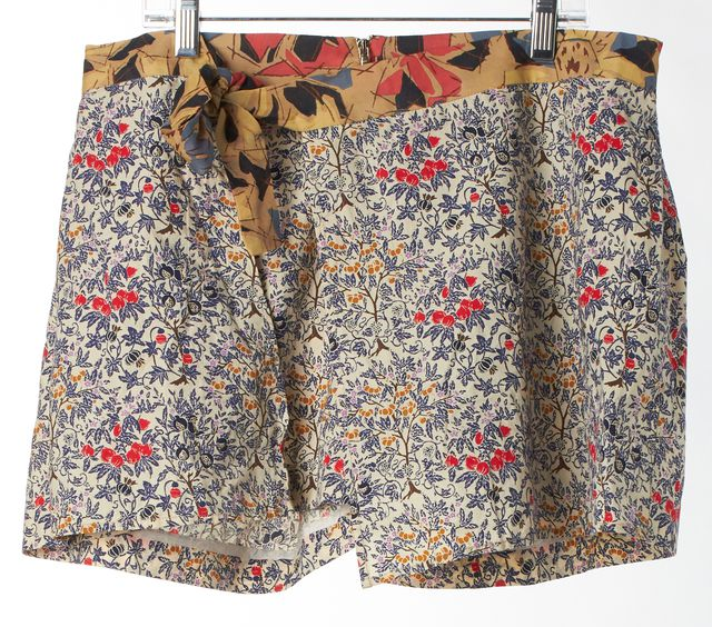 SUNO White Red Yellow Floral Cotton Zip-Front Casual Shorts