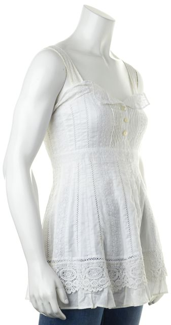 SUNO White Eyelet Lace Floral Embroidered Sleeveless Blouse Top