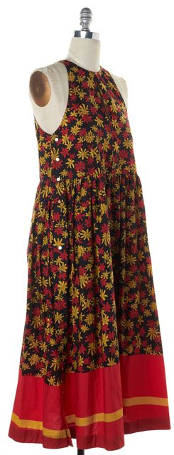 SUNO Black Red Mustard Floral Print Sleeveless Side Button Maxi Dress