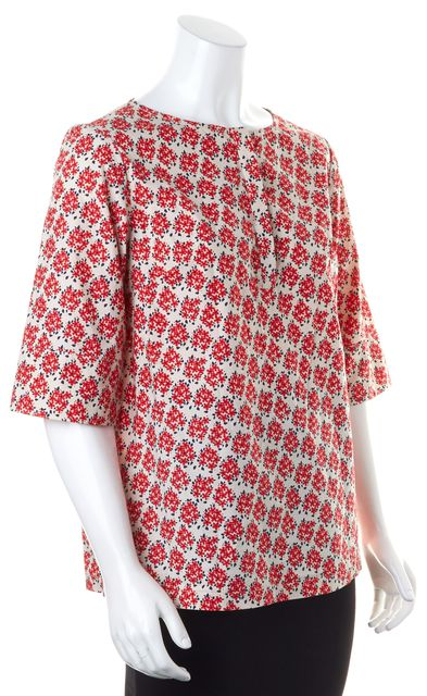 SUNO Red Floral Print 3/4 Sleeve Tunic Top