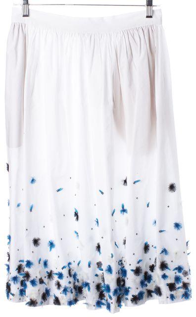 SUNO White Blue Black Floral Embellished Cotton Full Skirt