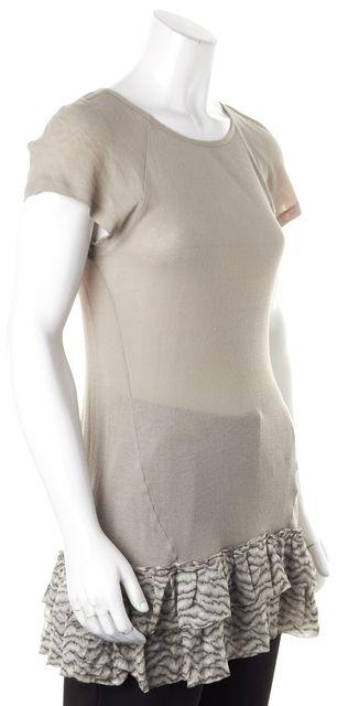 SUNO Gray Cotton Ribbed Knit Silk Ruffled Trim Long Top