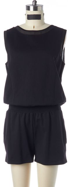 THEORY 38 Black Active Pique Mesh Trim Sleeveless Timer S Romper