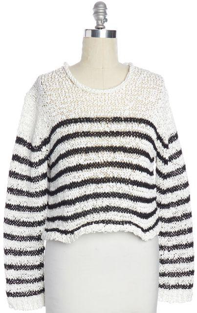 T BY ALEXANDER WANG Black White Striped Knit Top