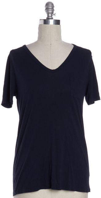 T BY ALEXANDER WANG Blue V Neck Basic Tee T-Shirt