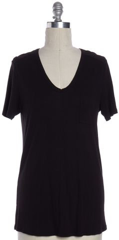 T BY ALEXANDER WANG Black Scoop Neck Basic Tee T-Shirt