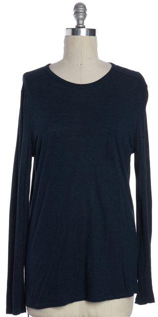 T BY ALEXANDER WANG Blue Long Sleeve Basic Tee T-Shirt