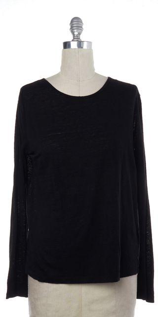 T BY ALEXANDER WANG Black Linen Silk Knit Long Sleeve T-Shirt