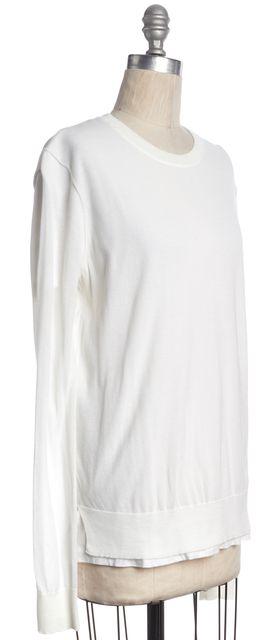 T BY ALEXANDER WANG White Cotton T-Shirt Layered Crewneck Sweater