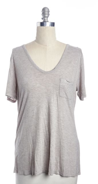 T BY ALEXANDER WANG Gray Relaxed Oversized Casual V-Neck Knit T-Shirt Top