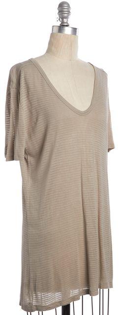T BY ALEXANDER WANG Beige Striped Basic Scoop Neck Short Sleeve T-Shirt Top