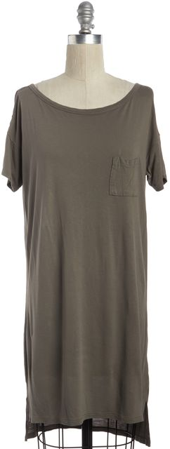 T BY ALEXANDER WANG Taupe Brown Pocket T-Shirt Dress