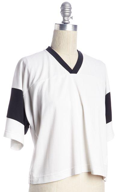 T BY ALEXANDER WANG White Black Striped Jersey T-Shirt