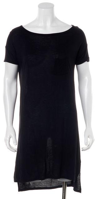 T BY ALEXANDER WANG Black Semi Sheer Short Sleeve T-Shirt Shift Dress