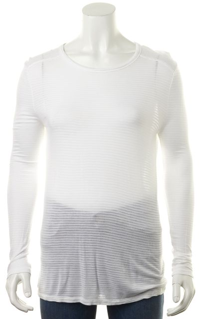 T BY ALEXANDER WANG Ivory Striped Long Sleeve Sheer Basic T-Shirt