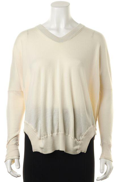 ALEXANDER WANG Ivory Wool Long Sleeve V-Neck Sweater