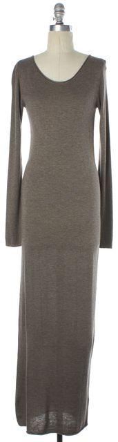T BY ALEXANDER WANG Heather Brown Ribbed Knit Maxi Dress