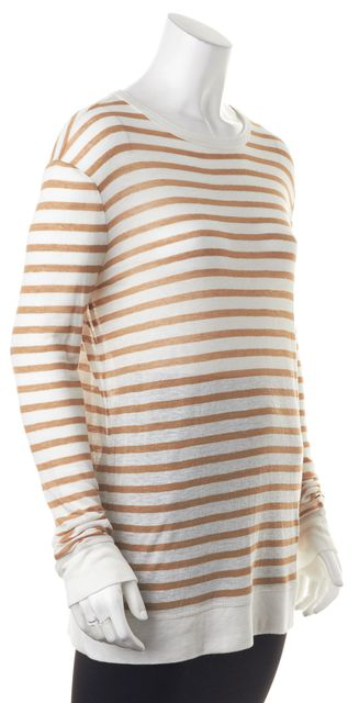 T BY ALEXANDER WANG Ivory Trench Striped Long Sleeve Crewneck T-Shirt