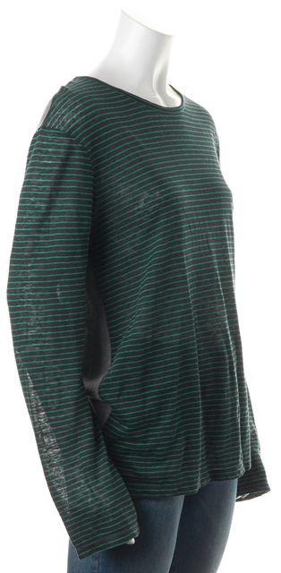 T BY ALEXANDER WANG Blue Green Striped Linen Long Sleeve Basic T-Shirt