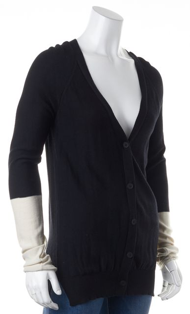 T BY ALEXANDER WANG Black Ivory Colorblock Long Sleeves V-Neck Cardigan