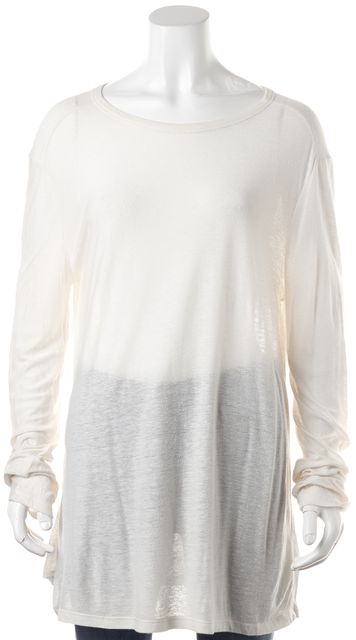 T BY ALEXANDER WANG Ivory Long Sleeve Basic T-Shirt
