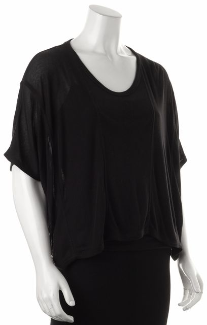 T BY ALEXANDER WANG Black Semi Sheer Relaxed Fit Oversized Crop Knit Top