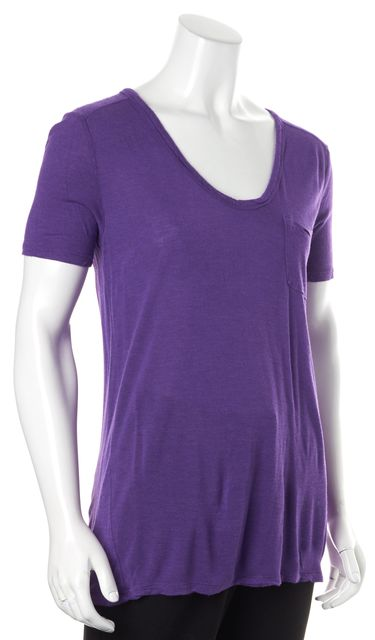 T BY ALEXANDER WANG Purple Scoop Neck Short Sleeve Basic T-Shirt