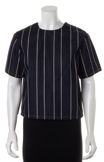 T BY ALEXANDER WANG Blue Red White Striped Denim Oversized Blouse Top