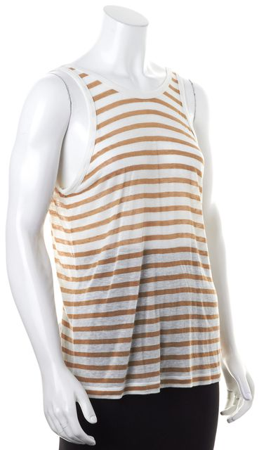 T BY ALEXANDER WANG White Beige Sheer Striped Scoop Back Tank Top