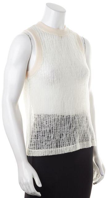 T BY ALEXANDER WANG White Super Sheer Wool Open Knit Tank Top