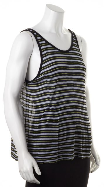 T BY ALEXANDER WANG Blue Yellow Striped Semi Sheer Knit Tank Top